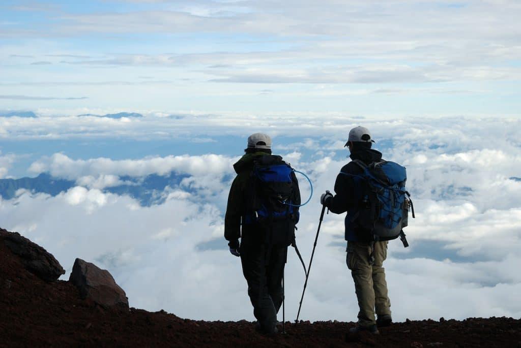 Two men hiking in Japan